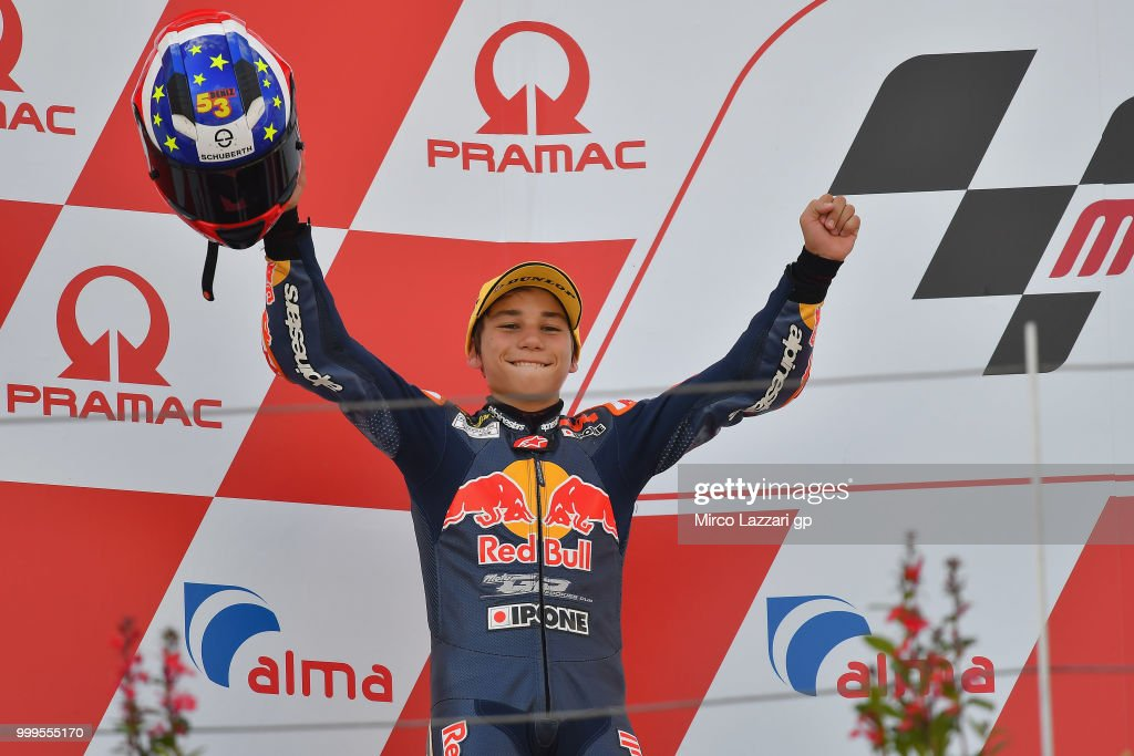 Deniz Oncu of Turkie celebrates the second place on the podium at the end of the RookiesCup race during the MotoGp of Germany - Race at Sachsenring Circuit on July 15, 2018 in Hohenstein-Ernstthal, Germany.