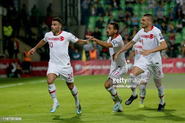Deniz Turuc of Turkey celebrates with his teammates Umut Meras Irfan Can Kahveci and Merih Demiral after scoring during the EURO Qualifiers 2019/20...