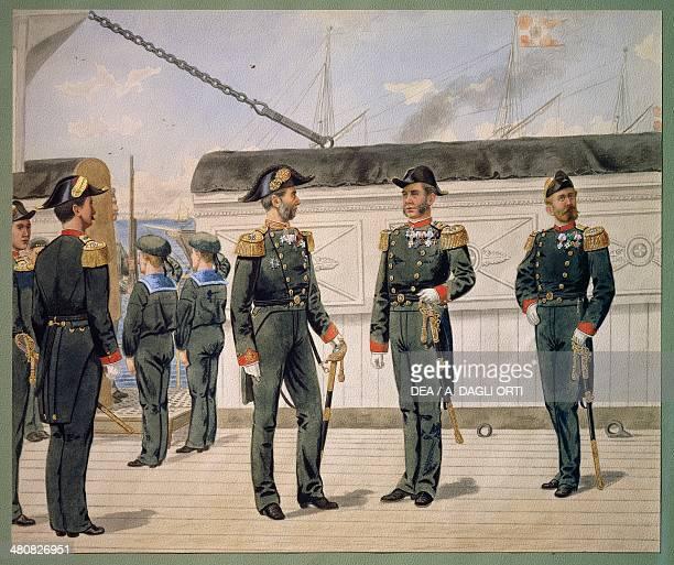 Denmark 19th century Officers of the Danish Navy in dress uniform Watercolor by Gustav Brock 1880 Copenhagen Orlogmuseet