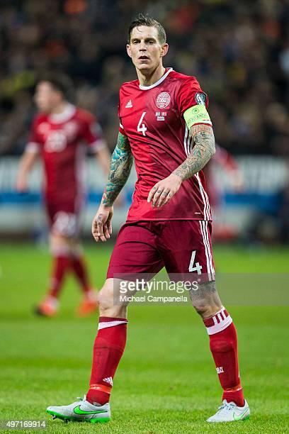 Denmark 4 Daniel Agger durring a European Qualifier PlayOff between Sweden and Denmark on November 14 2015 in Solna Sweden