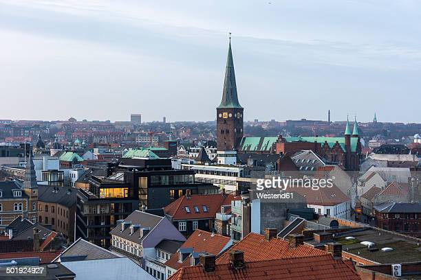 Denmark, Aarhus, view to roofs of city center, view from above