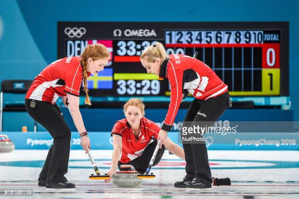 Denmark against Sweden in Curling at Gangneung Curling centre at Gangneung South Korea on February 14 2018 Ulrik Pedersen/Nurphoto