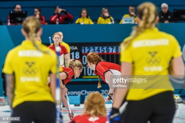 Denmark against Sweden in Curling at Gangneung Curling centre at Gangneung South Korea on February 14 2018 Ulrik Pedersen/Nurphoto