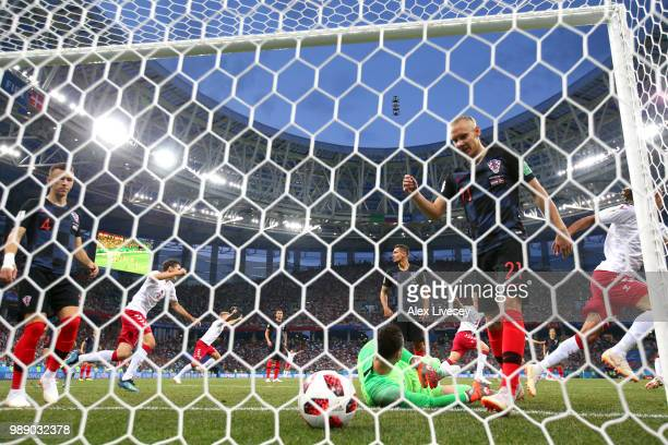 Denmark and Croatia players react following Denmark's first goal scored by Mathias Jorgensen of Denmark during the 2018 FIFA World Cup Russia Round...