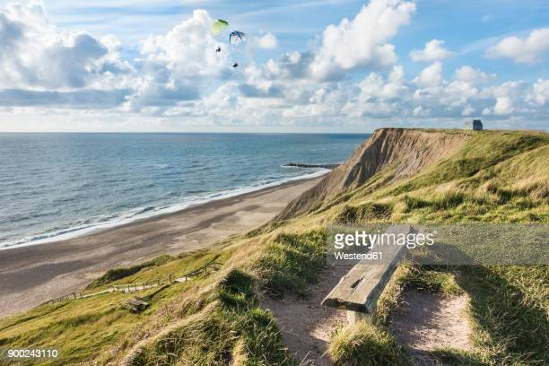 Denmark, Bovbjerg, paragliders at the coast