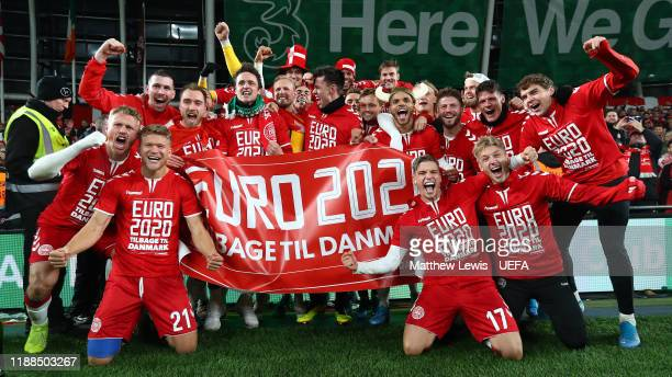 Denmark celebrate their win against the Republic of Ireland during the UEFA Euro 2020 qualifier between Republic of Ireland and Denmark so at Dublin...