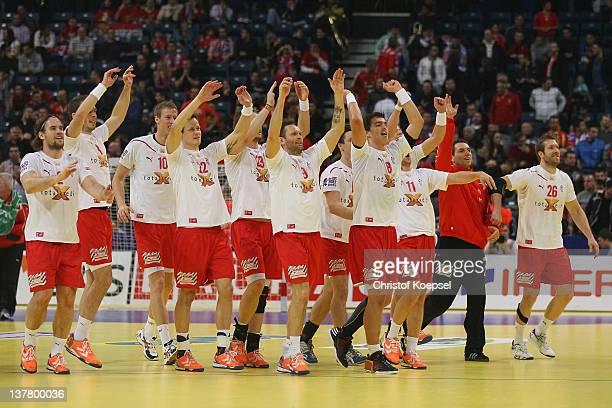 Denmark celebrates the 25-24 victory after the Men's European Handball Championship first semi final match between Denmark and Spain at Beogradska...