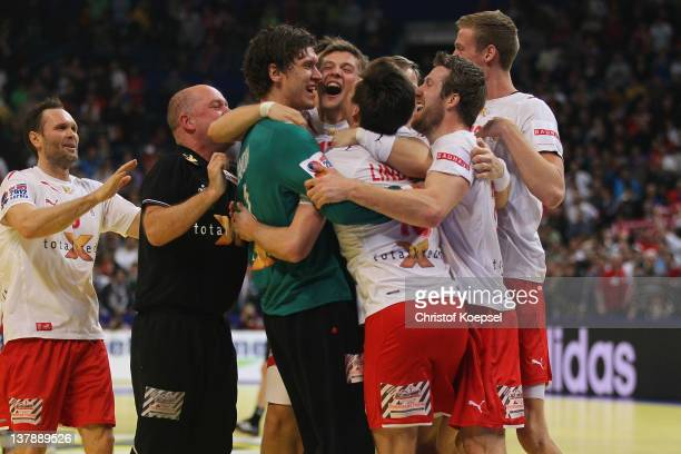 Denmark celebrates winning 21-19 the Men's European Handball Championship final match between Serbia and Denmark at Beogradska Arena on January 29,...