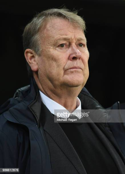 Denmark coach Age Hareide before the International Friendly match between Denmark and Panama at Brondby Stadion on March 22 2018 in Brondby Denmark