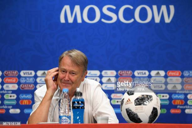 Denmark coach Age Hareide faces the media during a press conference after the 2018 FIFA World Cup Russia group C match between Denmark and France at...