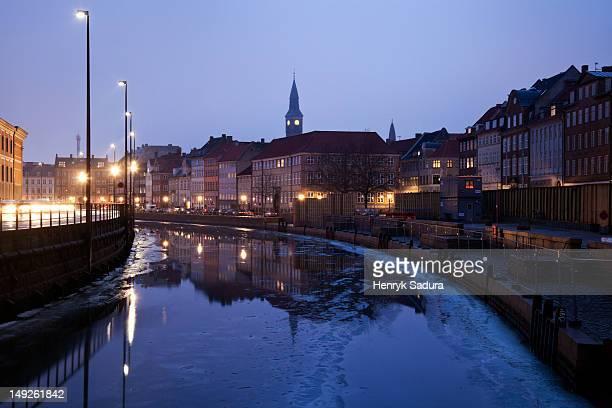 Denmark, Copenhagen, Old town scene on winter morning