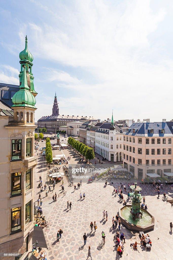 Denmark, Copenhagen, Stroget, shopping area, Amagertorv square with fountain : Stock Photo