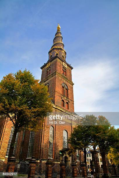 denmark, copenhagen, vor frelsers kirke, church  - oresund region stock photos and pictures