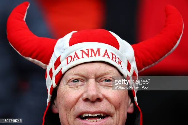 Denmark fan enjoys the pre match atmosphere prior to the UEFA Euro 2020 Championship Group B match between Russia and Denmark at Parken Stadium on...