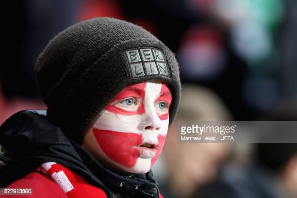 Denmark fan looks on prior to the FIFA 2018 World Cup Qualifier PlayOff First Leg between Denmark and Republic of Ireland at Telia Parken on November...