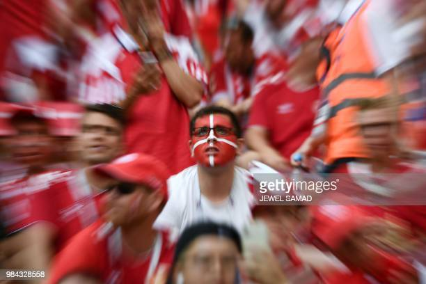 TOPSHOT Denmark fans await the Russia 2018 World Cup Group C football match between Denmark and France at the Luzhniki Stadium in Moscow on June 26...
