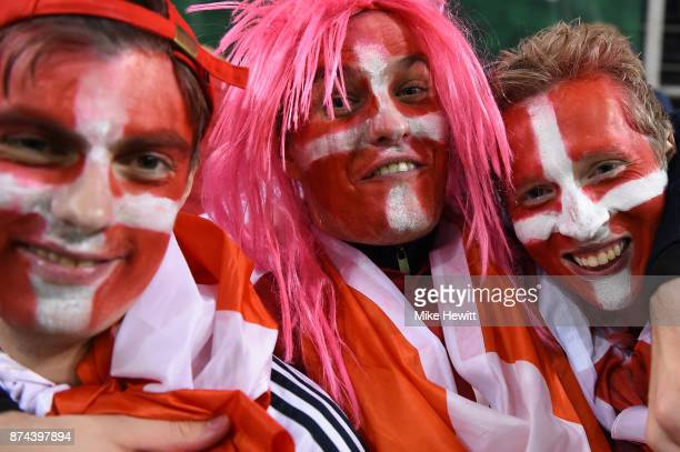 Denmark fans celebrate during the FIFA 2018 World Cup Qualifier PlayOff Second Leg between Republic of Ireland and Denmark at Aviva Stadium on...