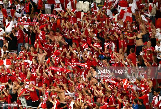 Denmark fans celebrate their sides victory after the 2018 FIFA World Cup Russia group C match between Peru and Denmark at Mordovia Arena on June 16...