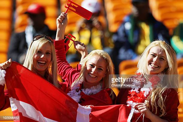 Denmark fans enjoy the atmosphere ahead of the 2010 FIFA World Cup Group E match between Netherlands and Denmark at Soccer City Stadium on June 14...