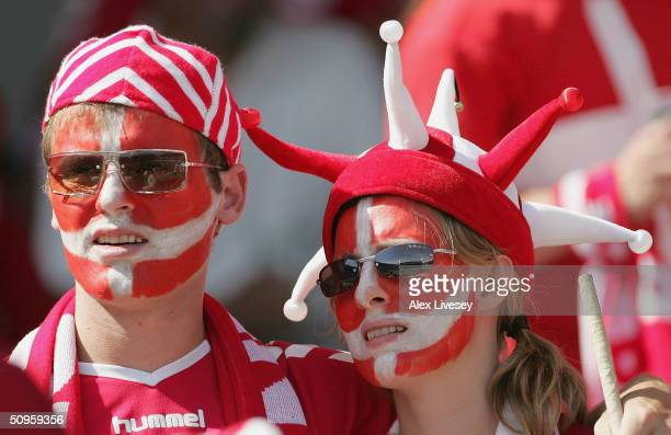 Denmark fans look on during the UEFA Euro 2004, Group C match between Denmark and Italy at the D.Alfonso Henriques Stadium on June 14, 2004 in...