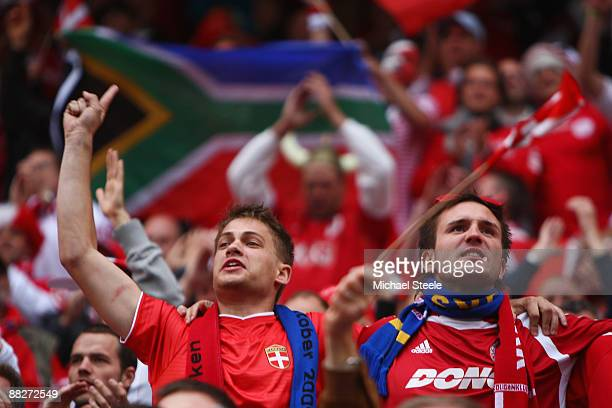 Denmark fans show their support during the FIFA2010 World Cup Qualifying Group 1 match between Sweden and Denmark at the Rasunda Stadium on June 6...