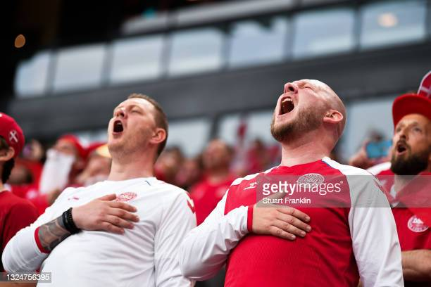 Denmark fans sing the national anthem during the UEFA Euro 2020 Championship Group B match between Russia and Denmark at Parken Stadium on June 21,...