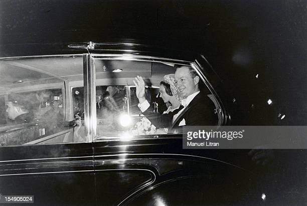 Denmark February 1968 the wife Princess Benedikte OF DENMARK Prince Richard of SaynWittgenstein Berleburg The big shots in their car