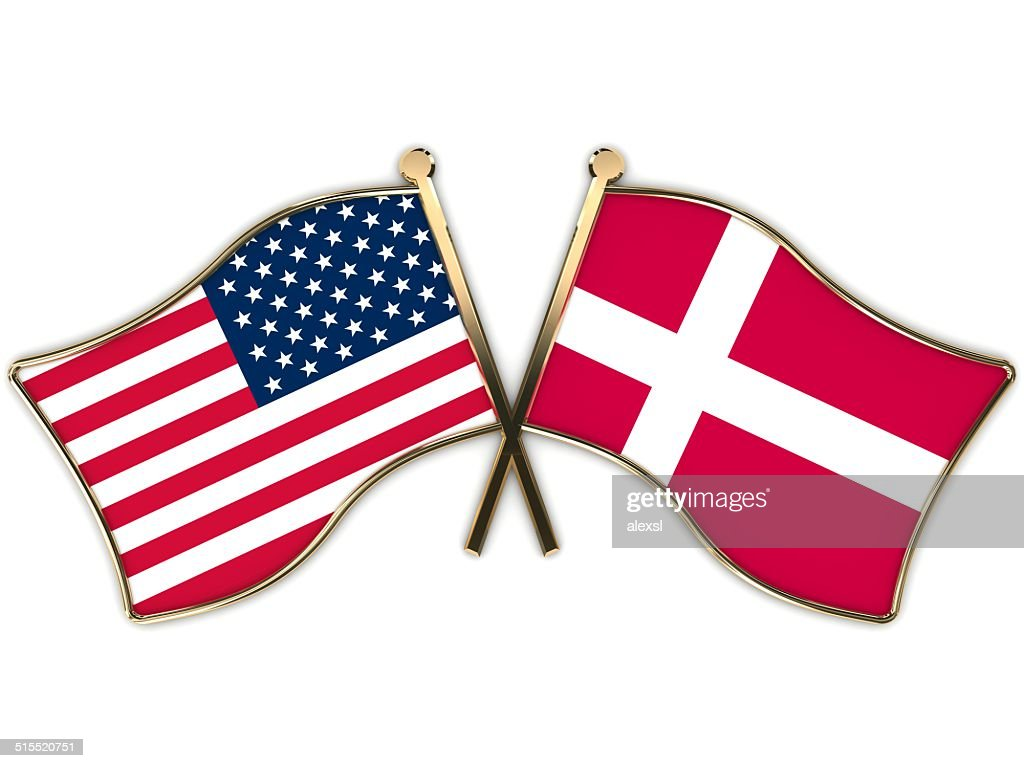 Usa Denmark Flags Badge Stock Photo Getty Images - Denmark flags