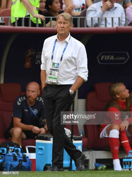 Denmark head coach Age Hareide looks on during the 2018 FIFA World Cup Russia group C match between Denmark and France at Luzhniki Stadium on June 26...