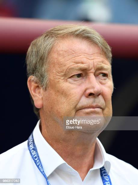 Denmark head coach Age Hareide looks on prior to the 2018 FIFA World Cup Russia group C match between Denmark and France at Luzhniki Stadium on June...