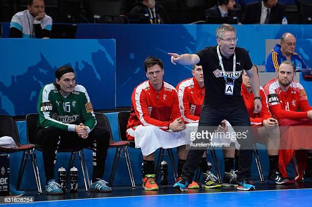 Denmark Head Coach Gudmundur Gudmundsson reacts during the 25th IHF Men's World Championship 2017 match between Denmark and Argentina at Accorhotels...