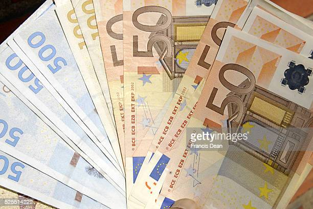 Denmark is not Euro zone danish korners and Greek Euo currency or danish kroners and euro money notes bills 16 April 2012