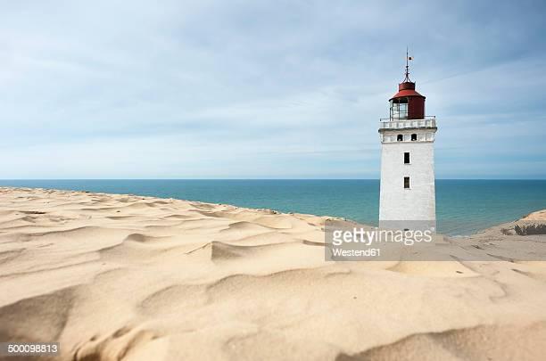 denmark, jutland, rubjerg knude lighthouse - jutland stock photos and pictures