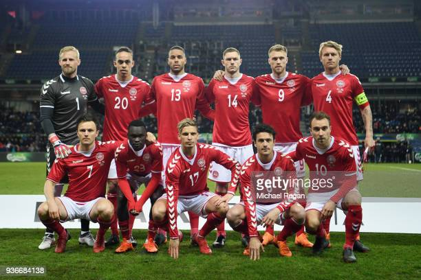 Denmark line up before the International Friendly match between Denmark and Panama at Brondby Stadion on March 22 2018 in Brondby Denmark