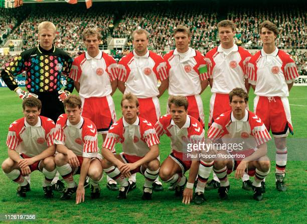Denmark line up for a group photo before the 1994 FIFA World Cup Qualifying match between the Republic of Ireland and Denmark at Lansdowne Road on...