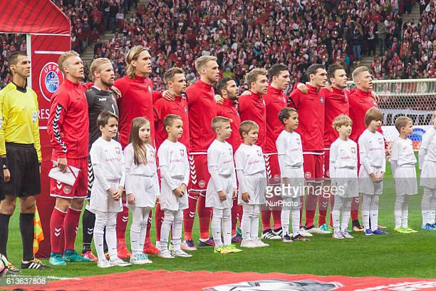 Denmark national football team during the 2018 FIFA World Cup qualification match between Poland and Denmark national football teams at National...