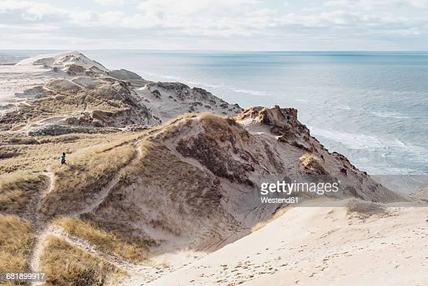 denmark, north jutland, steepcoast at lighthouse rubjerg knude - dänemark stock-fotos und bilder