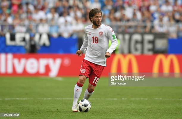 Denmark player Lasse Schone in action during the 2018 FIFA World Cup Russia group C match between Denmark and Australia at Samara Arena on June 21...