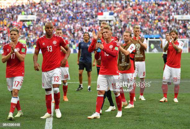 Denmark players acknowledge the fans following the 2018 FIFA World Cup Russia group C match between Denmark and France at Luzhniki Stadium on June 26...