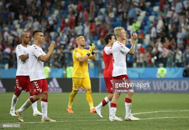 Denmark players applaud fans after the 2018 FIFA World Cup Russia Round of 16 match between Croatia and Denmark at Nizhny Novgorod Stadium on July 1...