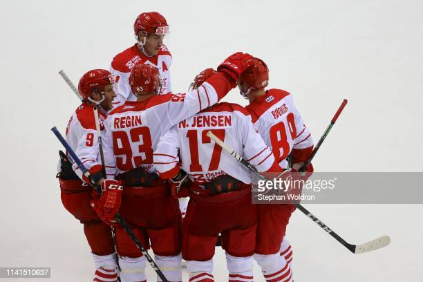 Denmark players celebrate during the Austria v Denmark - Ice Hockey International Friendly at Erste Bank Arena on May 5, 2019 in Vienna, Austria.