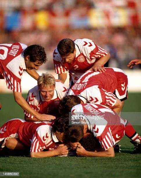 Denmark players celebrate John Jensen opening goal during the UEFA European Championships 1992 Final between Denmark and Germany held at the Ullevi...