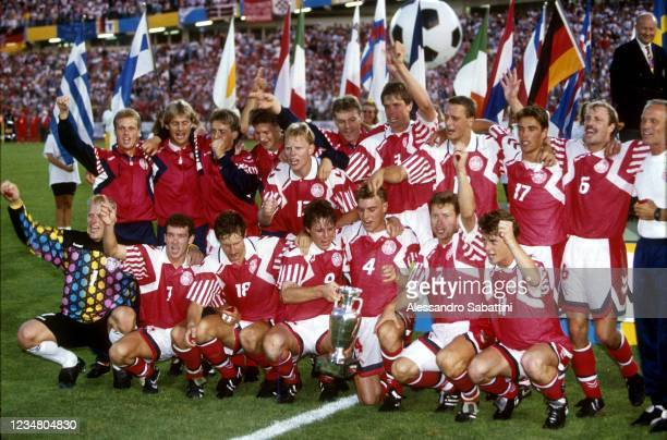 Denmark players celebrate the victory with the trophy after the Final UEFA EURO 1992 Sweden match between Denmark and Germany at Ullevi Stadion on 26...