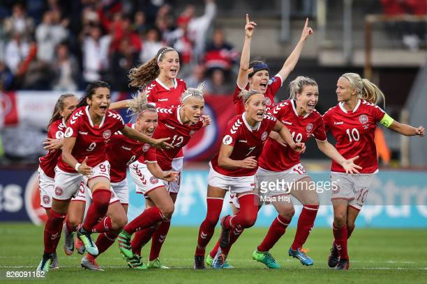 Denmark players celebrate their team's victory during the UEFA Women's Euro 2017 Semi Final match between Denmark and Austria at Rat Verlegh Stadion...