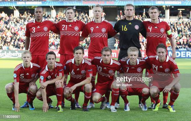 Denmark players line up for a team photo before the start of the UEFA European Under21 Championship Group A match between Denmark and Belarus at the...