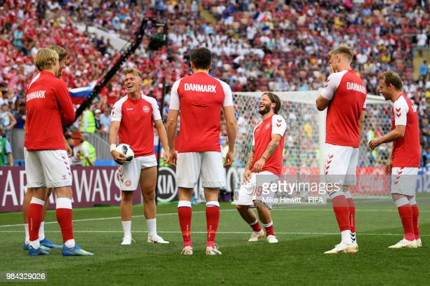 Denmark players warm up prior to during the 2018 FIFA World Cup Russia group C match between Denmark and France at Luzhniki Stadium on June 26 2018...