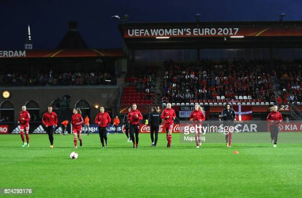 Denmark players warm up prior to the UEFA Women's Euro 2017 Quarter Final match between Germany and Denmark at Sparta Stadion on July 29 2017 in...