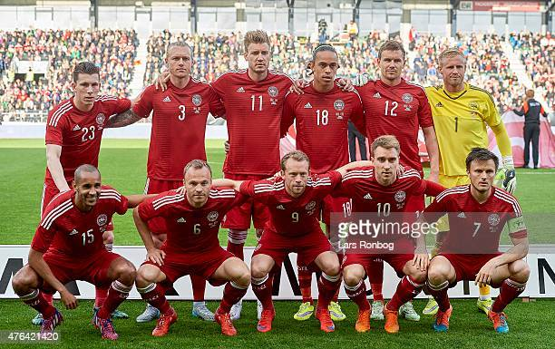 Denmark pose for a group photo prior to the International Friendly match between Denmark and Montenegro at Viborg Stadion on June 8, 2015 in Viborg,...