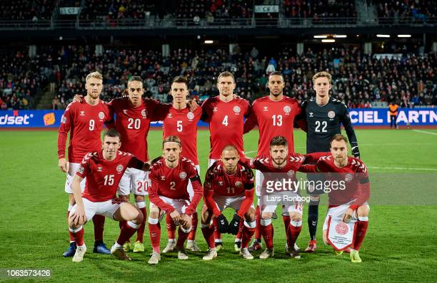 Denmark pose for a group photo prior to the UEFA Nations League match between Denmark and Ireland at Ceres Park on November 19 2018 in Aarhus Denmark