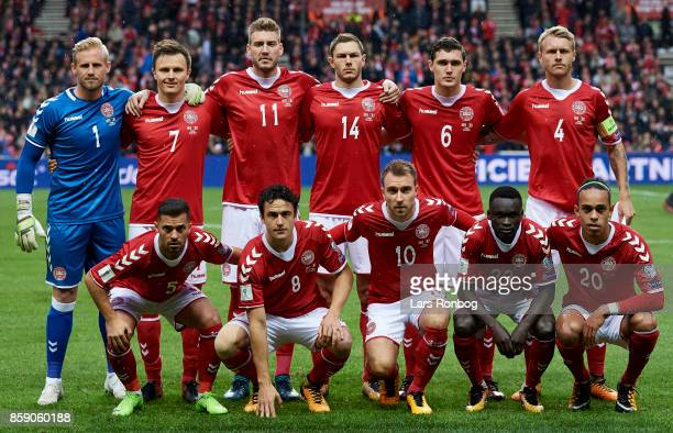 Denmark pose for a group picture Kasper Schmeichel William Kvist Nicklas Bendtner Henrik Dalsgaard Andreas Christensen Simon Kjar Riza Durmisi Thomas...
